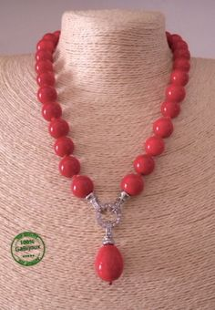 Collana-di-Perle-da-Donna-Estiva-Resina-Color-Rosso-Corallo-Elegante-Moda-Mare