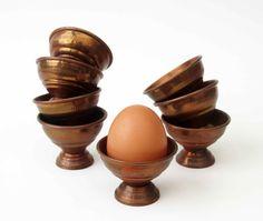 Vintage copper EGGCUPfamily breakfastmid century by LeFrenchBazaar