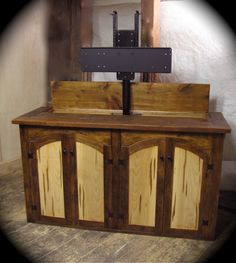 custom rustic furniture by don mcaulay rustic tv lift cabinet spaulted doors