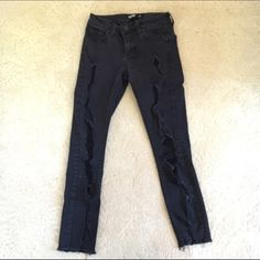 Ankle crop jeans Faded black color ankle cropped ripped jeans. Worn but in good condition. Stretchy denim. JustBlack Jeans Ankle & Cropped