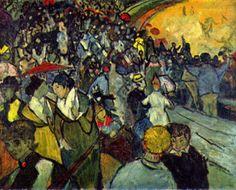 """VINCENT VAN GOGH: """"Die Arenen von Arles"""", 1888, Öl auf Leinwand. (SPETTATORI NELL'ARENA, 1888, MUSEO DELL'ERMITAGE, SAN PIETROBURGO. Rappresenta l'arena di Arles, con un pubbligo in subbuglio per la corrida.)"""