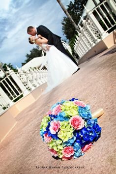 Hand tied (hand wrapped) bouquet | Disney wedding bouquet in bright colors