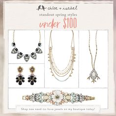 Shop Spring statement-makers under $100 on my c+i boutique today!  It isn't too early to start thinking about what you'll get Mom this  Mother's Day, which is just a month away! Browse beautiful, quality, + affordably-priced jewelry for  every style at my boutique.  All Chloe + Isabel jewelry is hypoallergenic, nickel-free, lead safe, + lifetime guaranteed!  #chloeandisabel #mothersday