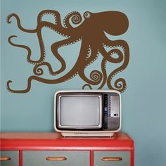 octopus wall decal octopus vinyl sticker art tentacles by beepart Vinyl Wall Decals, Wall Stickers, Octopus Wall Art, Octopus Tentacles, Animal Design, Form, Decoration, Etsy, Home Decor
