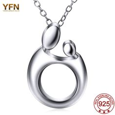 YFN Genuine 925 Sterling Silver Pendant Necklaces Mother's necklaces gifts Mom Jewelry Love Family Simple mama sieraden