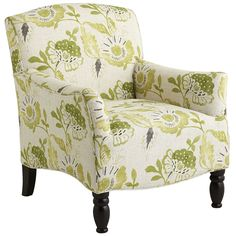 $450   There's nothing better than a fresh, green pattern with a hint of Jacobean inspiration. Our frisky Frankie Chair flaunts a bold, overscaled floral pattern on soft, hand-upholstered fabric. Comfy, tight back and seat with flared arms and turned legs keep the momentum going. It's a bold idea whose time has come.