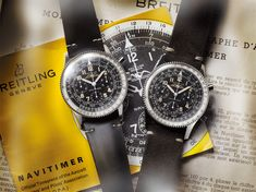 Can you tell them apart? The Breitling Navitimer Ref. 806 1959 Re-Edition next to its vintage inspiration. Breitling Navitimer, Breitling Chronograph, Breitling Watches, Seiko, Swiss Luxury Watches, Modern Watches, Vintage Watches, Watches For Men, Bell Ross