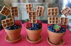 Breakfast in Bed for Mom! Why not make a b-line (b as in, breakfast line!) to the kitchen and make Mom an awesome gift – a delicious and healthy bouquet of… wait for it… edible waffles pops! They're so easy and fun to whip up, and make for the perfect project that will not only have you partying before the sun comes up as you put together the perfect, nutritious take on classic Mother's Day breakfast-in-bed, but they'll have Mom smiling as you start the celebration off right!