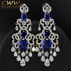 Luxury African Nigerian Design Dangling Drop Cubic Zirconia Big Royal Blue Vintage Wedding Earring For Brides CZ380