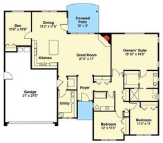 Plan 3 Bed Prairie Style Ranch Home Plan. ** mudroom/utility room, kitchen with island Barn House Plans, Ranch House Plans, New House Plans, Cabin Plans, Small House Plans, House Floor Plans, House Renovations, Kitchen Renovations, House Remodeling