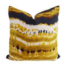 Kim Salmela Modern Yellow Gold Designer Pillow on Chairish.com