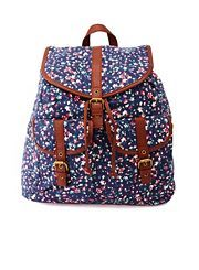Floral Print Canvas Backpack.