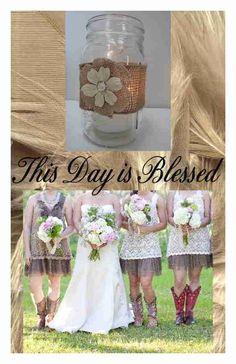 8 Burlap Ivory Mason Jar Wedding Graduation Party Rustic Candle Decorations F18 #BurlapBrides