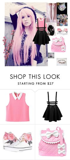 """""""Pastel Goth 💗"""" by colorfulcats ❤ liked on Polyvore featuring WithChic, Converse and Sugarbaby"""