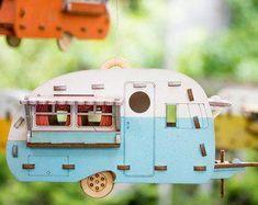 Airstream Trailer BIRDHOUSE,primitive,camper,metal,unique,multi-color