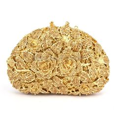Women Gold Plating Rose Flower Hollow Out Crystal Evening Metal Clutch  Wedding Clutch 6193794c424e6