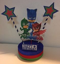 PJ Masks Birthday Centerpiece by BannersandmoreShop on Etsy