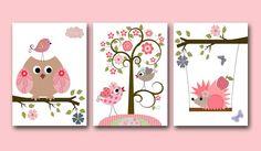 "Owls Art for Children Kids Wall Art Baby Girl Room Decor Baby Girl Nursery print set of 3 8"" x 10"" Print kids room owls decoration tree rose"