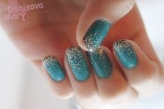 Turquoise Nails with Glitter Tips