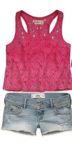 Shorts de mezclilla con blusa pink de encaje