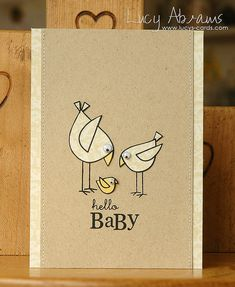 Hello Baby Card by Lucy's Card. We love the soft colors of yellow with kraft paper for an adorable effect. Use a stamp and cut out the shape to make your chicks! For great deals on cardstock for cards, visit us at www.cardstockshop.com.