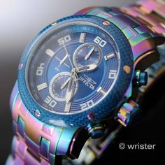 Invicta Pro Diver Scuba Rainbow Iridescent Blue Dial Chrono 48mm Mens Watch Rare - http://scuba.megainfohouse.com/invicta-pro-diver-scuba-rainbow-iridescent-blue-dial-chrono-48mm-mens-watch-rare/