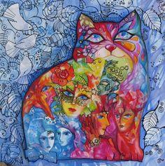 VENISE /chat/cat/katze - Painting,  30x30 cm ©2007 von Oxana Zaika -  Malerei
