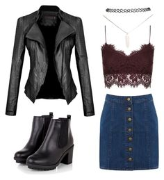 """Leather, denim and lace"" by jewel-mt ❤ liked on Polyvore featuring Topshop, Warehouse and Wet Seal"