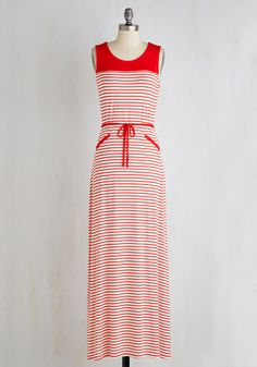 Chesapeake Bay Way of Life Dress. Gather the girls for a weekend on the water wearing this striped maxi dress, which flaunts optimum casual-cool vibes! #red #modcloth