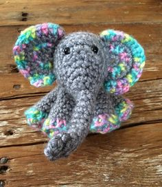Crochet Baby Elephant by MaeDayCrochetShop on Etsy Little Elephant, Baby Elephant, Blue Accents, Baby Booties, More Fun, Crochet Baby, Red And White, Dinosaur Stuffed Animal, Etsy