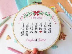 Beautiful hand stitched calendar keepsake. Mark those special moments with this handstitched calender, personalised with names and a heart to mark that special day. Available to order in a variety of fabric & thread colours, all finished in a 6 inch embroidery hoop. Once checking