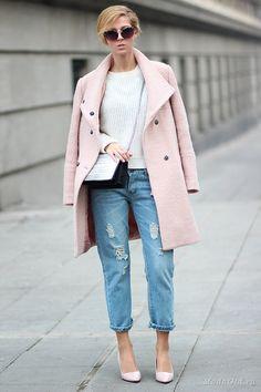 Уличная мода: Тренд уличной моды 2014: розовое пальто