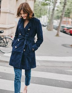 Suede Trench Coat from Boden Fall Winter Outfits, Winter Wear, Autumn Winter Fashion, Winter Style, Fall Fashion, Suede Trench Coat, Feminine Tomboy, Cute Jackets, Vintage Coat