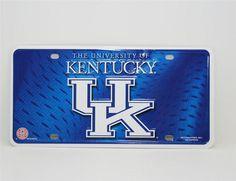 Large UK license plate Tag UNIVERSITY OF KENTUCKY black brushed aluminum