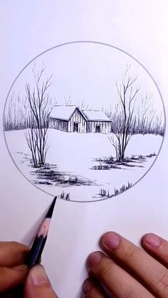 3d Art Drawing, Art Drawings For Kids, Art Drawings Sketches Simple, Pencil Sketches Of Nature, Easy Sketches To Draw, Things To Sketch, Nature Drawing, Landscape Pencil Drawings, Pencil Art Drawings