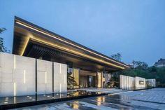 Modern natural landscape, enjoy the oriental world Entrance Signage, Modern Entrance, Entrance Design, Gate Design, Facade Design, Chinese Architecture, Facade Architecture, Entrance Gates, House Entrance
