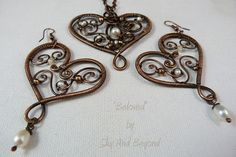 Beloved Wire Wrapped Copper Earrings Containing by SkyAndBeyond