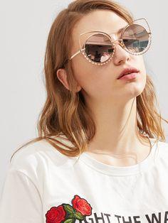 Lunettes de soleil à lunette ronde en strass-French SheIn(Sheinside) d5fcaf7e0318
