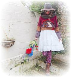 Hare Cropped Jumper Upcycled Rustic Recycled by TheTopianDen