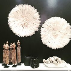 We have a VERY limited number of white Juju's back in stock as well as… Sculpture Techniques, Black And White Colour, Tribal Art, Decoration, Color Schemes, Objects, Artisan, Wall Decor, Ceiling Lights