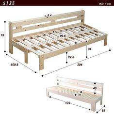 Wooden Sofa Day Bed Frame w/ Foldable Trundle WhiteDIY Camper Couch/Bed with storage.
