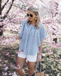 58162a67b7a1e4 Up the feminine feels in flutter sleeve stripes and summer-approved white  denim a la