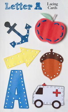 My kids had a lot of fun using these Letter A Lacing Cards to work on their fine motor skills. Also great for teaching beginning sewing!