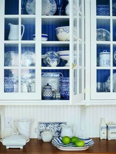 blue and white kitchen. or whatever color you want with the white see through c. blue and white kitchen. or whatever color you want with the white see through cabinets. Sweet Home, Vibeke Design, Interior Windows, White Dishes, Blue Dishes, Blue And White China, Blue China, Dark Blue, Blue Grey