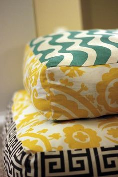 Mandy Made sewed up these giant floor pillows, using different patterns, in several sizes. Throw them around the living room and use for extra seating.