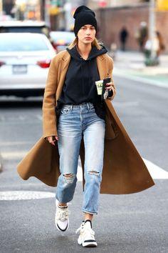 On Hailey Baldwin: Anine Bing Shane Cashmere Beanie ($89); Louis Vuitton Archlight sneakers