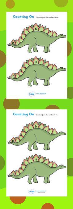 Werkblad rekenen: Counting On Worksheets (Dinosaurs). Free printable. Home. school.