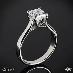 Royal Crown Solitaire Engagement Ring for Princess Cut Diamonds by Vatche | 307