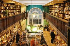 Daunt Books, London  is an original Edwardian bookshop with long oak galleries and graceful skylights in London.  The store specializes in travel books and its London branch and others regularly feature author talks and discussions.