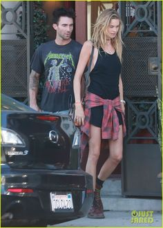Adam Levine and his wife Behati Prinsloo go shopping for watches on Saturday afternoon (August 16) in West Hollywood, Calif.